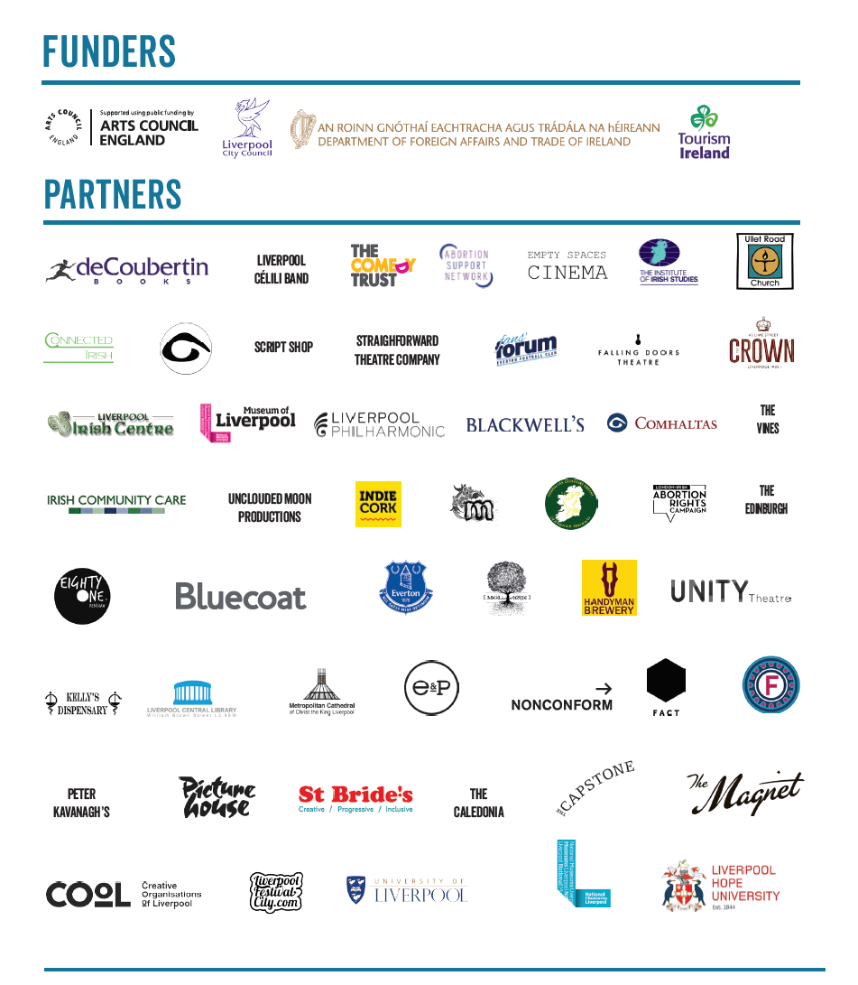 Full logo list of sponsors and partners for LivIrshFest2017