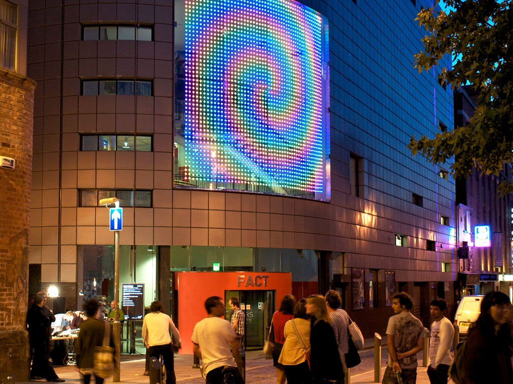 FACT (Foundation for Art and Creative Technology) sporting a large LED spiral of lights above the Wood Street entrance