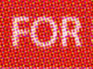 Detail from the Artist Centre for Human Rights logo saying 'FOR'