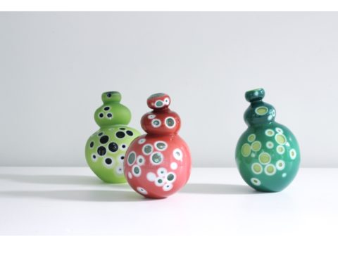 Catherine Keenan's 'Eye Candy ' a set of 3 colourful glass sculptures