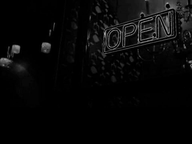 An 'Open' sign in the dark (c) Danny Ryder Photography