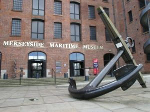 Mersey Maritime Museum entrance, with ship's anchor