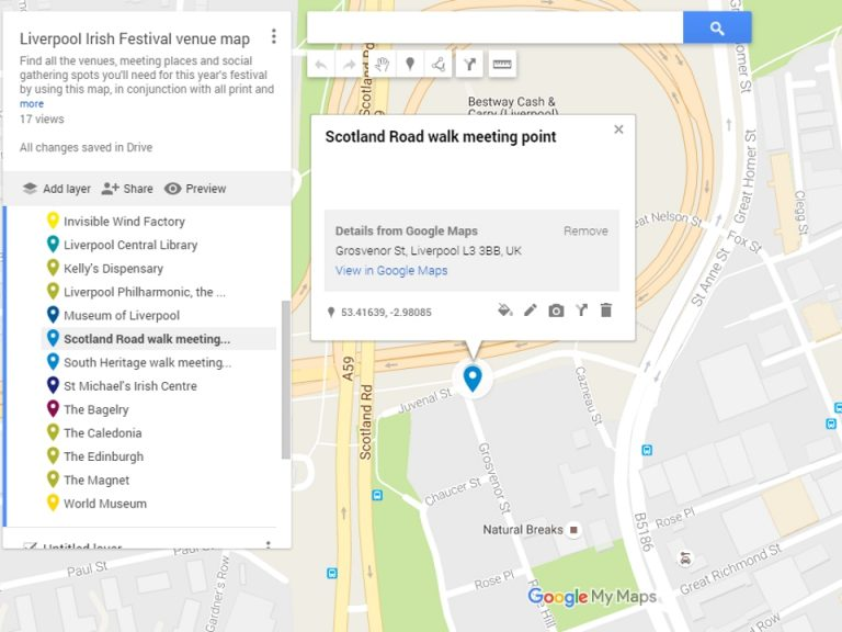 Googlemap showing scotland Road meeting point