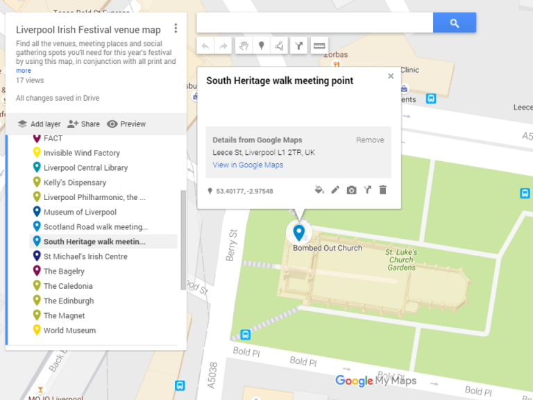 Googlemap screen shot of the South Liverpool Heritage walk meeting point