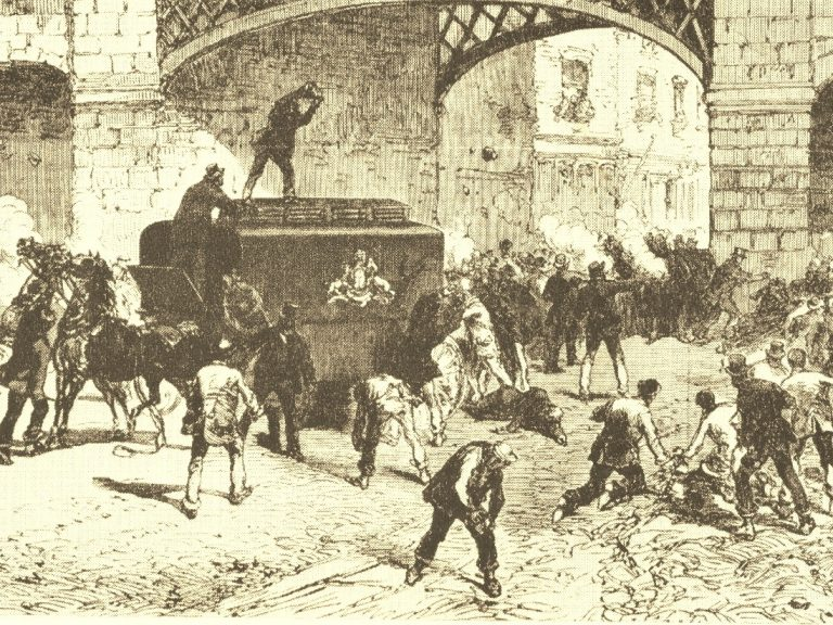 Edward & Eliza and the Smashing of the Van - an illustration of the 1867 attack on a police van to free the prisoners within