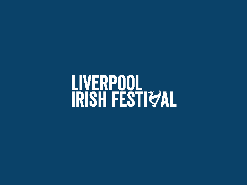 Blue background (comunity, family and sport) with white Liverpool Irish Festival logo