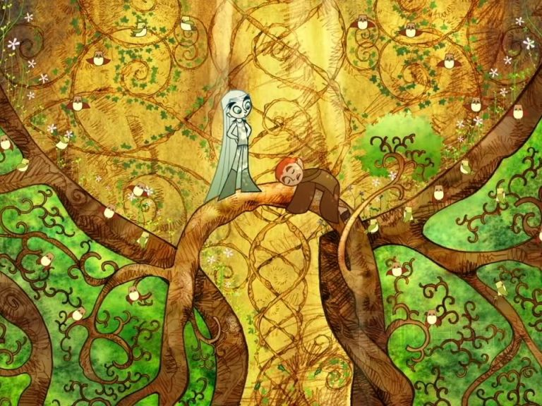 Promotional, illustrated still from The Secret of Kells featuring two characters on a tree