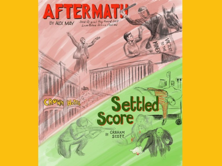 Two plays - poster advertising 'Aftermath' and 'Settled Score', featuring original artwork