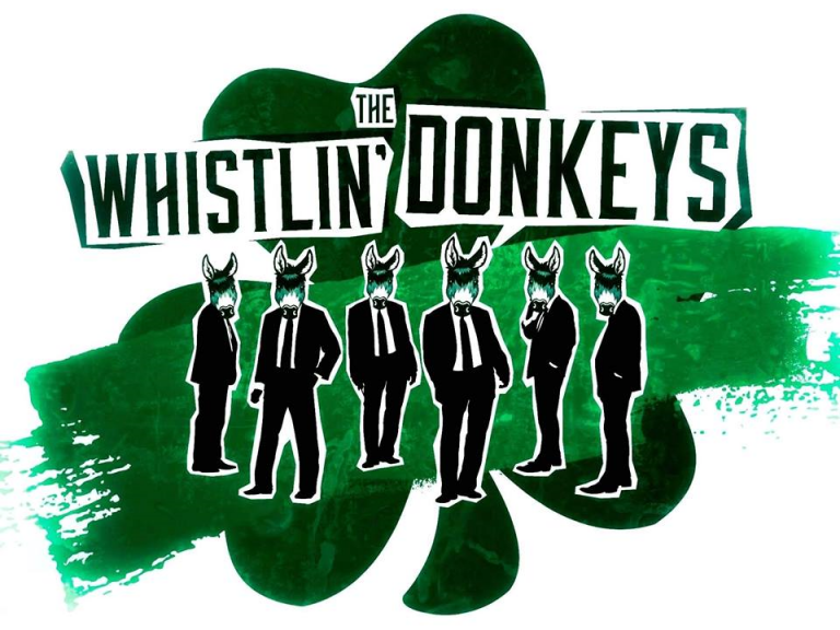 The WHilstlin' Donkeys prmomitional image of 6 black and white upstanding donkeys, wearing suits in front of large a watercolour shamrock