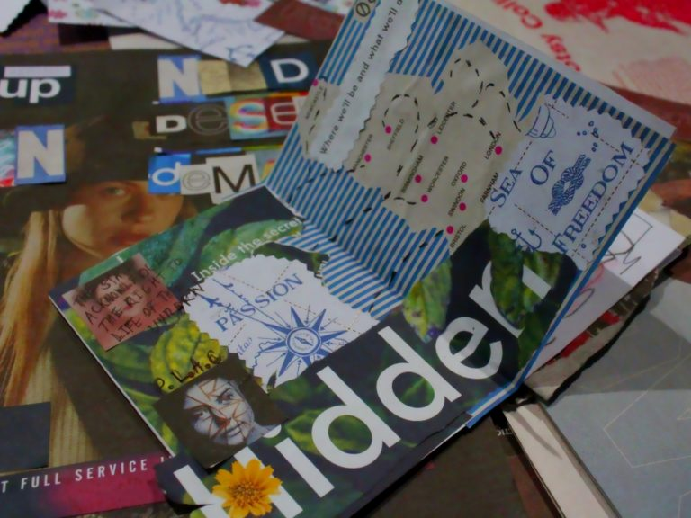 In:Visible Women 2017 collage workshop, designed by LIF volunteer Helaena Williamson (c) E Smith