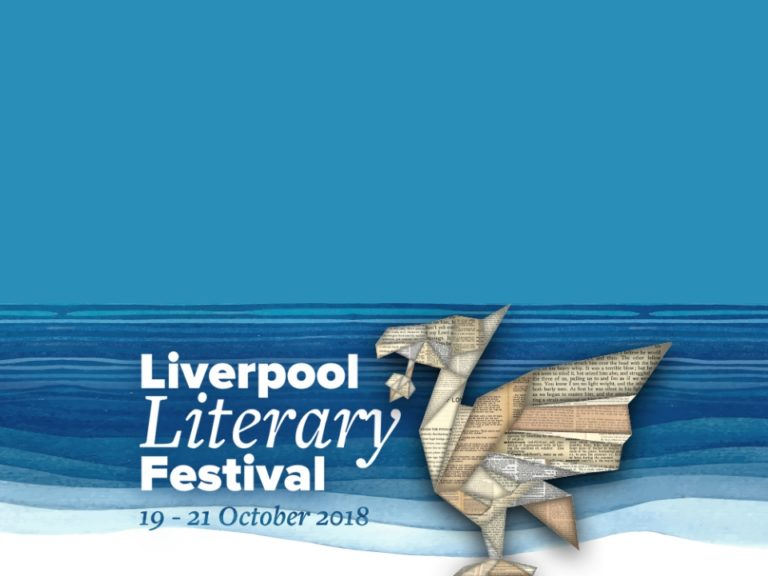 Liverpool Literary Festival banner with Liver Bird