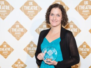 Lizzie Nunnery with award at the UK Theatre Awards