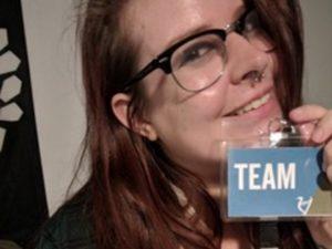 Anna Adelma selfie with LIF2018 Team lanyard