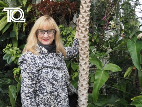 Eithne Browne tree-huggging at Sefton Park Palm House (c) Naomi McAllister