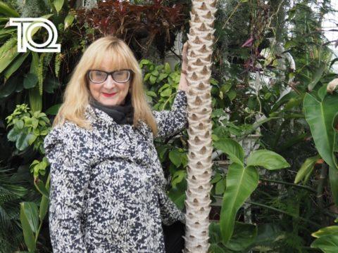 Eithne Browne tree-huggging at Sefton Park Palm House (c) Naomi McAllister