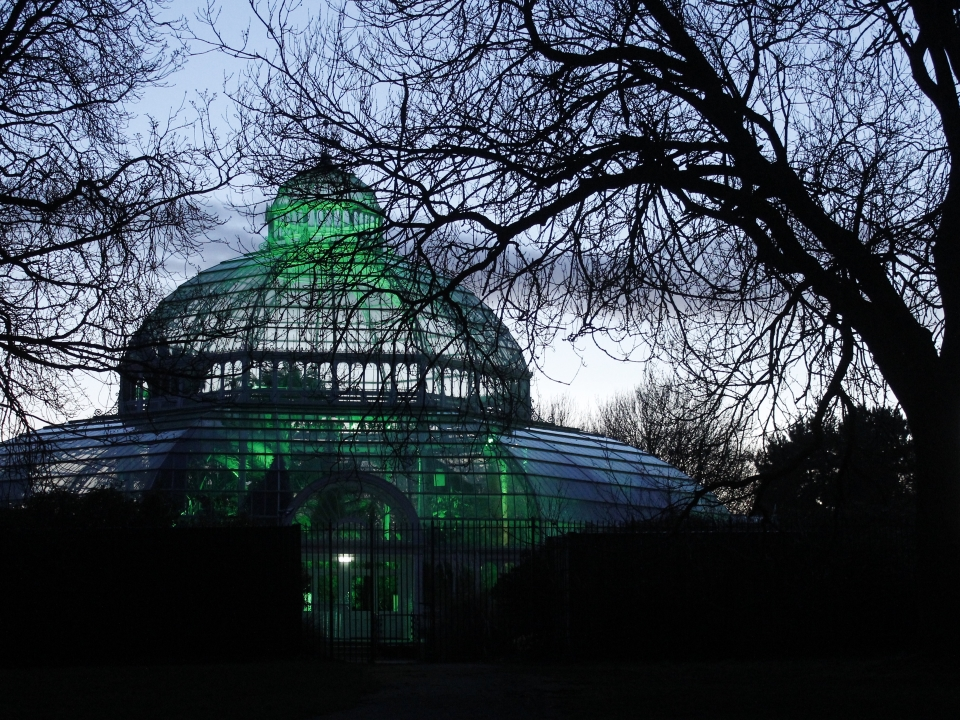 Sefon Park Palm House, lit green for #GlobalGreening - a St Patrick's Day event